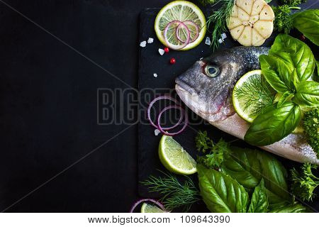 Fresh Raw Dorado Fish With Spices And Herbs