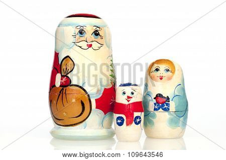 Santa Claus with snow Maiden and snowman