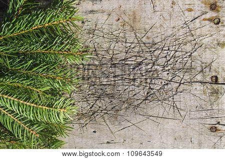 Christmas tree on old wood