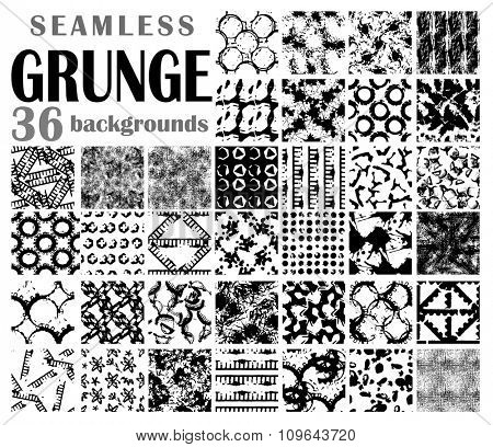 Grunge seamless backgrounds, black-and-white detailed patterns
