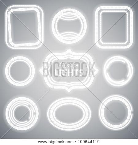 White Neon Lights Frames