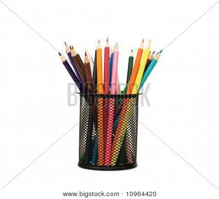 Holder Basket Full Of Colored Pencils