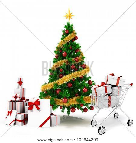 3d Christmas tree and present boxes