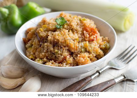 Cooked Quinoa With Vegetables And Shrimps