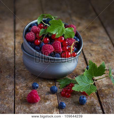 Fresh Summer Berries In Vintage Metal Bowl