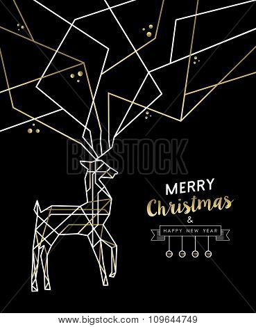 Merry Christmas New Year Deer Gold Outline Deco
