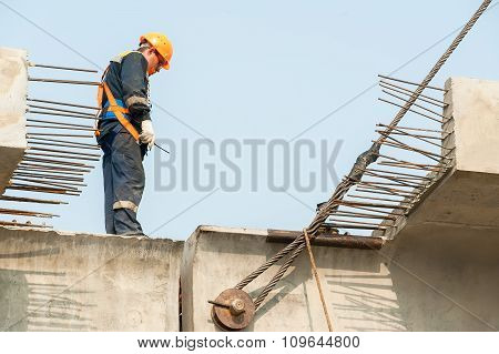 Builder Worker on bridge construction