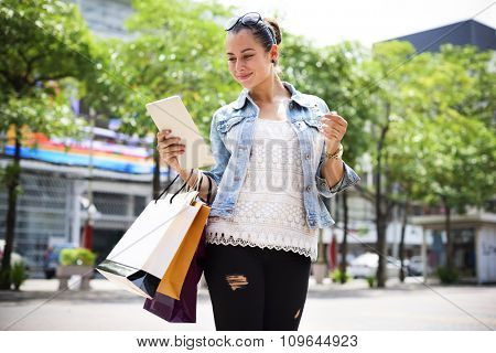Woman Women Girl Shopping Mobility Business Bags Concept