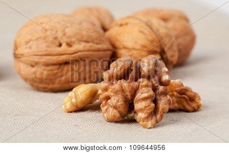 Walnuts on burlap sack