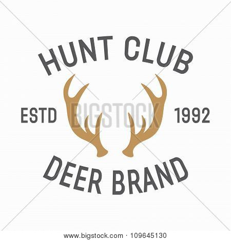 Vector hunting vintage emblem design template