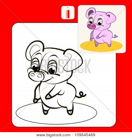 Coloring Book or Page Cartoon Illustration of funny pink pig