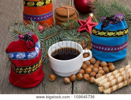Three Gift Bags, Fir-tree Branch, Coffee And Sweets