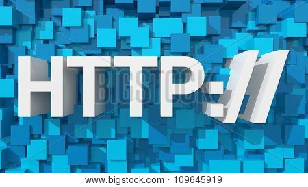 Extruded Http Text With Blue Abstract Backround Filled With Cubes