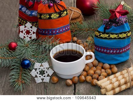 Three Gift Bags, Fir-tree Branch, Coffee And Nutlets