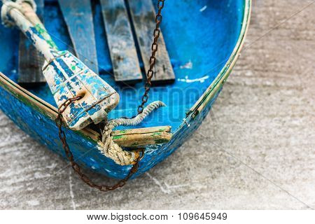 Old Blue Wooden Shabby Fishing Boat Detail