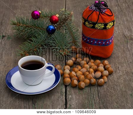Coniferous Branch, Coffee, Orange Gift Bag And Nutlets