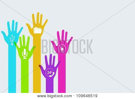 Vector colorful hands technology infographics