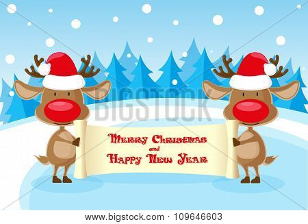 Vector Banner Two Funny Deer In Santa Claus Hat At The Ice Rink With Merry Christmas Scroll On Blue