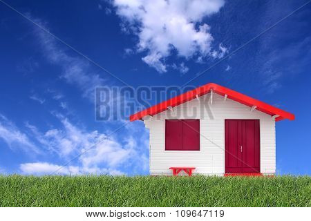 Wooden Prefabricated House On The Grass