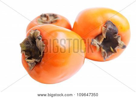 Three Ripe Persimmons Isolated On White