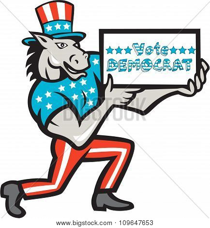 Vote Democrat Donkey Mascot Cartoon