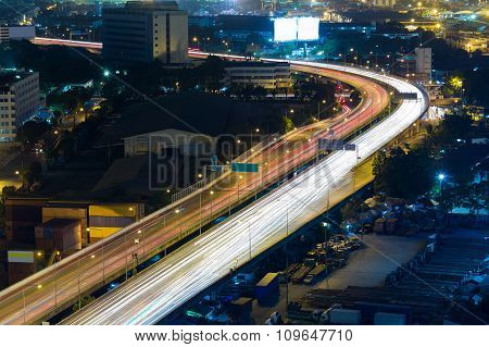 Aerial view city highway road curved