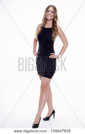 Portrait of beautiful young adult attractive sexy and sensuality happy smiling pretty brunette woman elegance business style dress, Isolated on white background