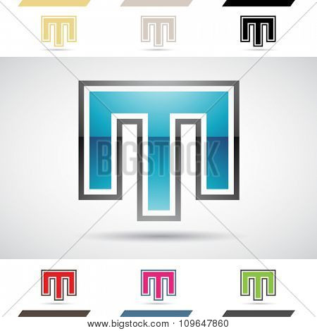 Design Concept of Colorful Stock Icons and Shapes of Letter M, Vector Illustration