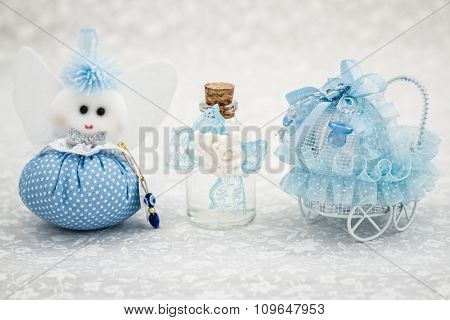 Blue Toys For Boy Prepared As A Gift For Baby Shower