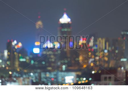 Abstract blurred bokeh lights city downtown background
