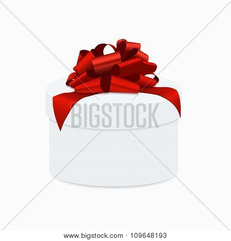 modern red bow with white gift box