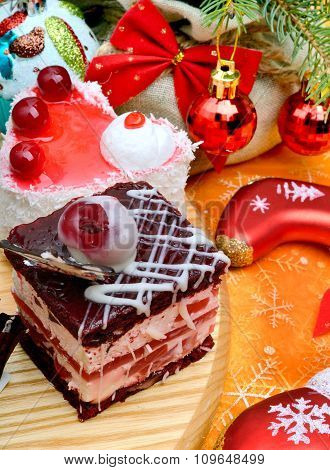 Christmas Delicious Cakes On Christmas Background