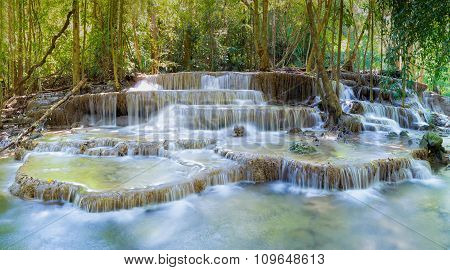 Beautiful of Deep forest water fall in national park of Thailand
