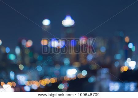 Abstract blurred bokeh lights cityscape night view