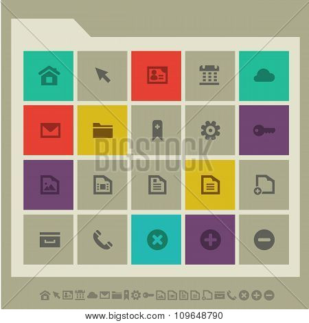 Web icons, set 1. Multicolored square flat buttons