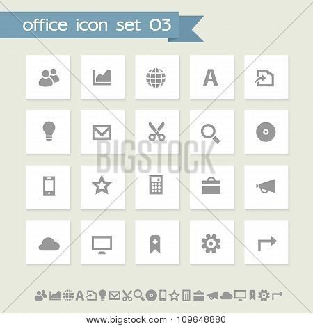 Office 3 icon set. Simple flat buttons