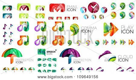 Logo huge mega collection, abstract geometric business icon set. Modern clean universal symbols. Vector illustration