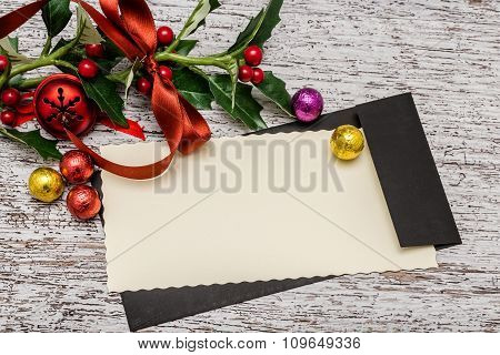 Blank Christmas Card With Decoration