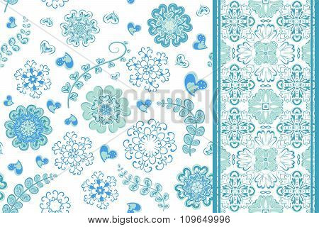 Set of seamless pattern with flowers with snowflakes and border, fantasy floral endless pattern. Vec