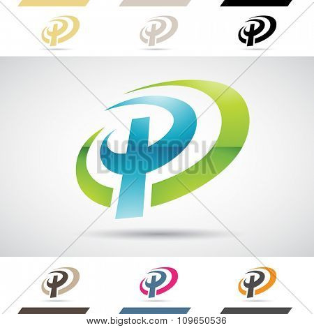Design Concept of Colorful Stock Icons and Shapes of Letter P, Vector Illustration