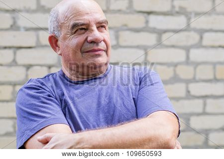 Old Man Looking Away With Joy And Hope