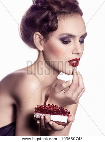 Beautiful fashion girl with delicious berry pie