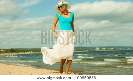 Beautiful Blonde Girl On Beach, Summertime