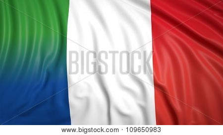 Close-up of French and Italian flags