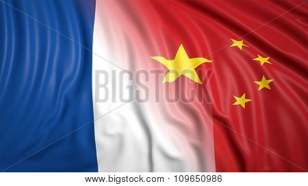 Close-up of French and Chinese flags