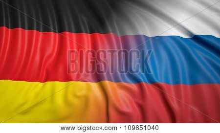 Close-up of Russian and German flags