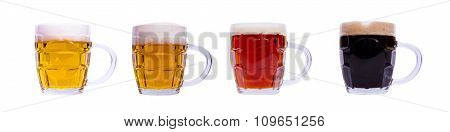 Mugs with different beer in a row