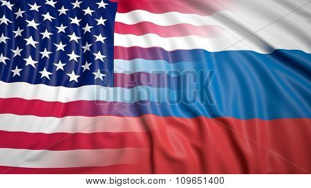 Close-up of Russian and American flags