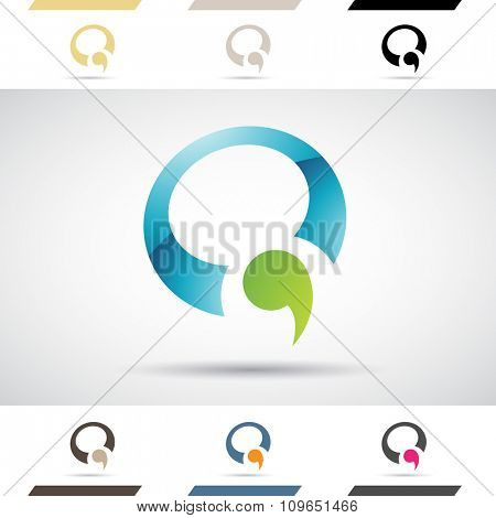 Design Concept of Colorful Stock Icons and Shapes of Letter Q, Vector Illustration