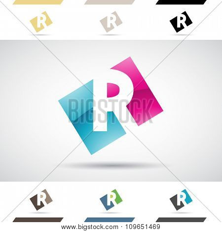 Design Concept of Colorful Stock Icons and Shapes of Letter R, Vector Illustration